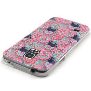 Transparentný gélový obal pre mobil Samsung Galaxy S5 mini - kvety a slony - 4