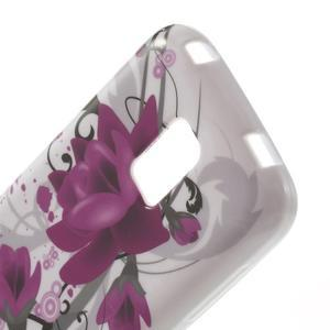 Softy gelový obal na Samsung Galaxy S5 mini - fialové květy - 4