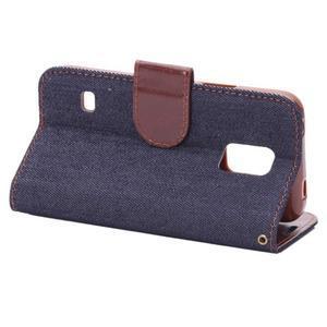 Jeans peňaženkové puzdro pre Samsung Galaxy S5 mini - čiernomodré - 4