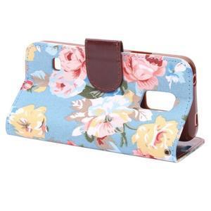 Kvetinové puzdro pre mobil Samsung Galaxy S5 mini - modré pozadie - 4
