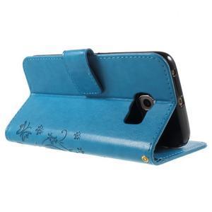 Butterfly PU kožené puzdro pre mobil Samsung Galaxy S6 Edge - modré - 4