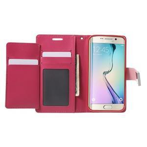 Richdiary PU kožené puzdro pre mobil Samsung Galaxy S6 Edge - ružové - 4