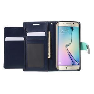 Richdiary PU kožené puzdro pre mobil Samsung Galaxy S6 Edge - azúrové - 4