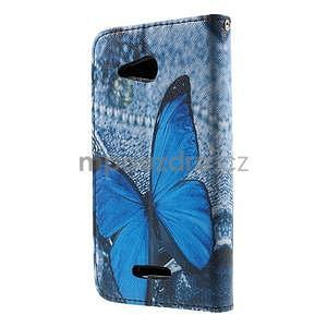 Peňaženkové puzdro pre Sony Xperia E4g - modrý motýľ - 4