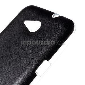 Gélový obal na Sony Xperia E4g s koženkovým chrbtom - čierny - 4