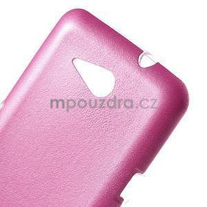 Gélový obal na Sony Xperia E4g s koženkovým chrbtom - ružový - 4