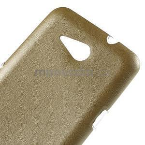 Gélový obal na Sony Xperia E4g s koženkovým chrbtom - zlatý - 4