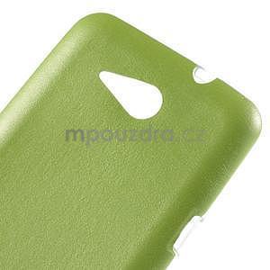 Gélový obal pre Sony Xperia E4g s koženkovým chrbtom - zelený - 4