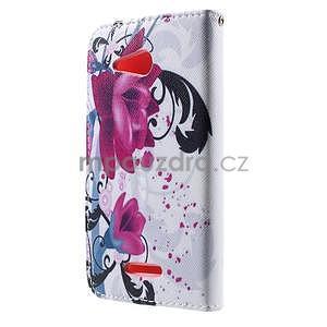 Peňaženkové puzdro na Sony Xperia E4g - kvety - 4