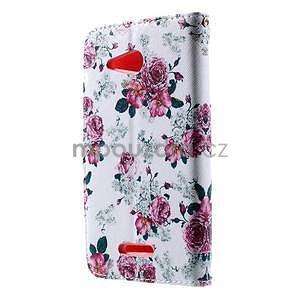 Peňaženkové puzdro na Sony Xperia E4g - kvetinová koláž - 4