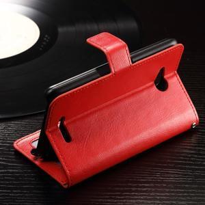 Horse PU kožené puzdro pre mobil Sony Xperia E4g - červené - 4
