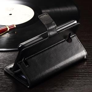 Horse PU kožené pouzdro na mobil Sony Xperia E4g - černé - 4