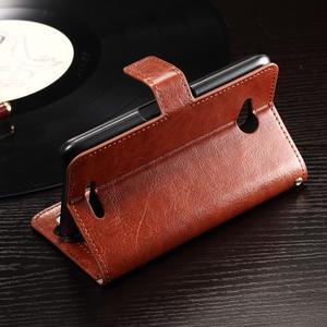 Horse PU kožené puzdro pre mobil Sony Xperia E4g - hnedé - 4