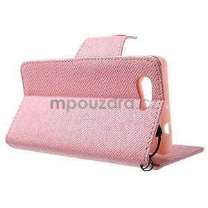 Růžové peněženkové pouzdro na Sony Xperia Z3 Compact - 4