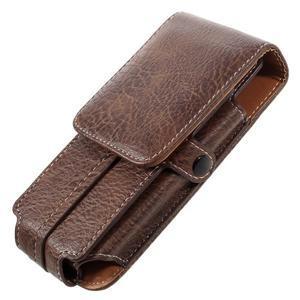 Cestovní PU kožené peňaženkové puzdro do rozmerov 150 x 73 x 15 mm - coffee - 4