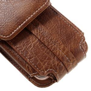 Cestovní PU kožené peněženkové pouzdro do rozměru 150 x 73 x 15 mm - hnědé - 4