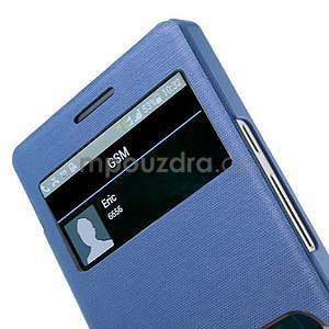 Kožené puzdro s okýnky na Huawei P6 - modré - 4
