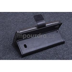 Čierné kožené peňaženkové puzdro na Huawei Ascend G620s - 4