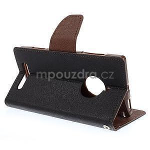 Kožené peňaženkové puzdro na Nokia Lumia 830 - čierné/hnedé - 4