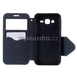 PU kožené puzdro s okienkom pro Samsung Galaxy J5 - svetlo modré - 4