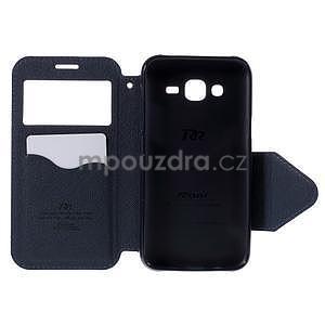 PU kožené puzdro s okienkom pro Samsung Galaxy J5 - fialové - 4