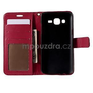PU kožené pouzdro s imitací krokodýlí kůže Samsung Galaxy J5 - tmavě červené - 4