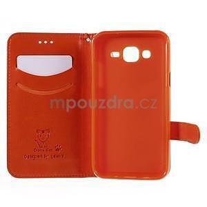 Peňaženkové puzdro s kočičkou Domi pre Samsung Galaxy J5 - oranžové - 4