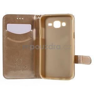 Peňaženkové puzdro s kočičkou Domi pre Samsung Galaxy J5 - champagne - 4