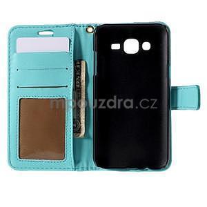 PU kožené pouzdro s imitací krokodýlí kůže Samsung Galaxy J5 - tyrkysové - 4