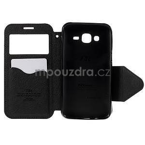 PU kožené pouzdro s okýnkem pro Samsung Galaxy J5 - černé - 4
