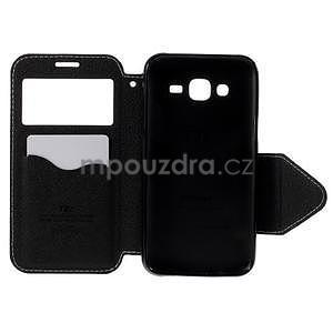 PU kožené puzdro s okienkom pro Samsung Galaxy J5 - biele - 4