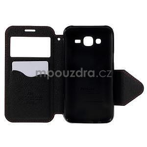 PU kožené puzdro s okienkom pro Samsung Galaxy J5 - červené - 4