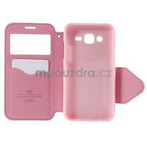 PU kožené puzdro s okienkom pro Samsung Galaxy J5 - rose - 4