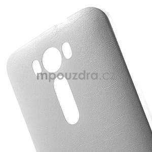Gélový obal s jemným koženkovým plátem na Asus Zenfone 2 Laser ZE500KL - biely - 4