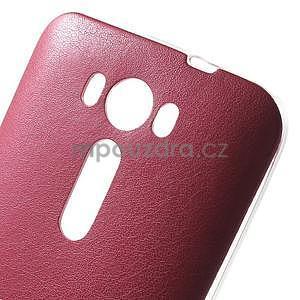 Gélový obal s jemným koženkovým plátem pre Asus Zenfone 2 Laser ZE500KL - rose - 4