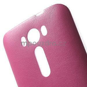 Gélový obal s jemným koženkovým plátem na Asus Zenfone 2 Laser ZE500KL  - růžový - 4