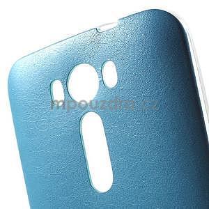 Gélový obal s jemným koženkovým plátem pre Asus Zenfone 2 Laser ZE500KL - modrý - 4