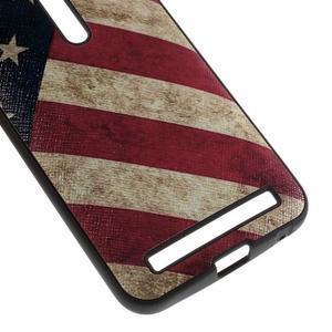 Gélový obal s koženkovým chrbtom na Asus Zenfone 2 Laser - US vlajka - 4