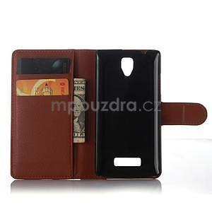 Peňaženkové puzdro pre mobil Lenovo A2010 - hnedé - 4