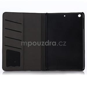 Koženkové puzdro s imitáciou dreva na iPad Mini 3, iPad Mini 2, iPad mini - tmavošedé - 4