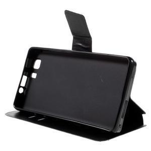 Peňaženkové PU kožené puzdro pre mobil Doogee X5 - čierne - 4