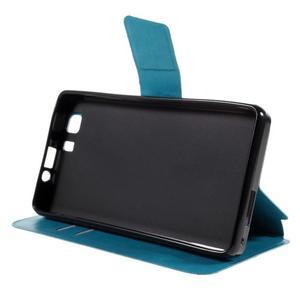 Peňaženkové PU kožené puzdro pre mobil Doogee X5 - modré - 4