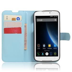 Peňaženkové puzdro pre mobil Doogee X6 - svetlomodré - 4