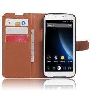 Peňaženkové puzdro pre mobil Doogee X6 - hnedé - 4