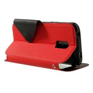 Pěněženkové pouzdro s okýnkem pro Samsung Galaxy S5 mini - červené - 4