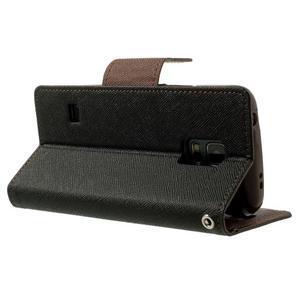 Diary PU kožené puzdro pre Samsung Galaxy S5 mini - čierne/hnedé - 4