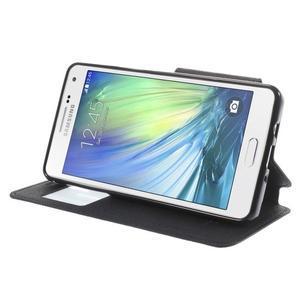 Štýlové puzdro s okienkom pre Samsung Galaxy A5 - čierné - 4