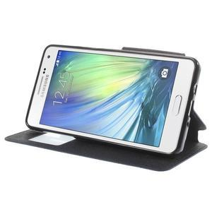 Stylové puzdro s okýnkem na Samsung Galaxy A5 - tmavo modré - 4