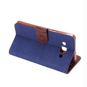 Jeans peňaženkové puzdro na Samsung Galaxy note 3 - tmavo modré - 4