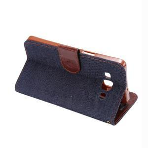 Jeans peňaženkové puzdro na Samsung Galaxy note 3 - černomodré - 4